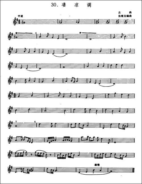 凄凉调-箫、五线谱-笛箫简谱|笛箫谱