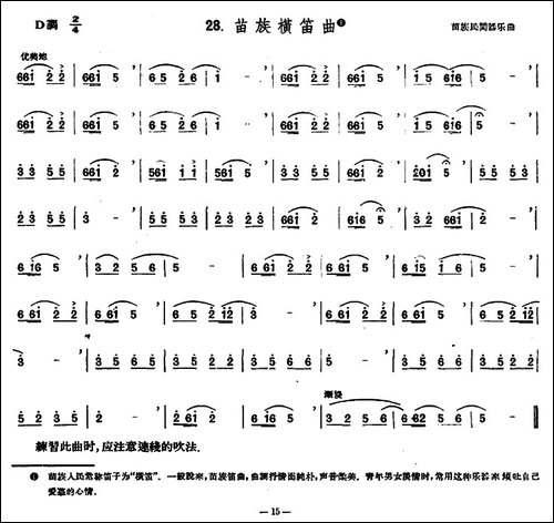 苗族横笛曲-笛箫简谱|笛箫谱