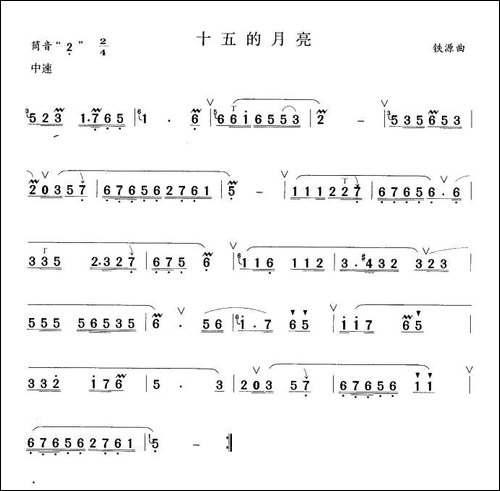 十五的月亮-笛箫间谱|笛箫谱
