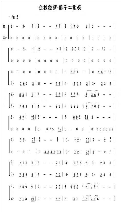 金枝欲孽-笛子二重奏-笛箫间谱|笛箫谱