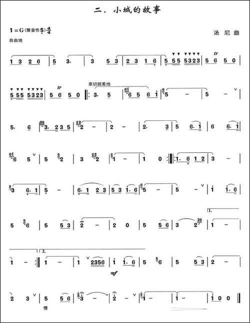 小城的故事-箫独奏曲-笛箫简谱 笛箫谱