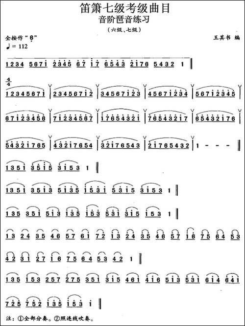 笛箫七级考级曲目:音阶琶音练习-笛箫简谱|笛箫谱