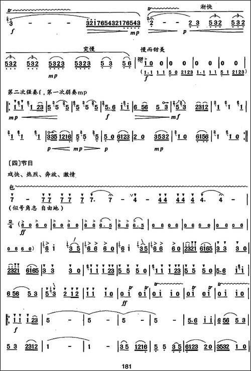 笛箫九级考级曲目:巴塘素描-笛箫简谱|笛箫谱
