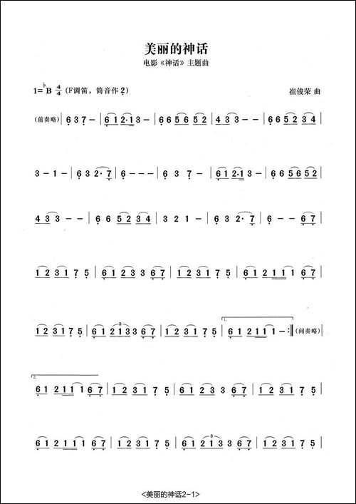 美丽的神话-张宏笛子编配版-笛箫简谱|笛箫谱