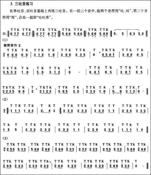 笛子吐音练习曲-笛箫间谱|笛箫谱