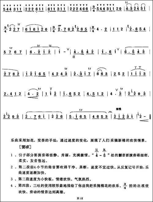 摘棉花-版本二-笛箫间谱|笛箫谱