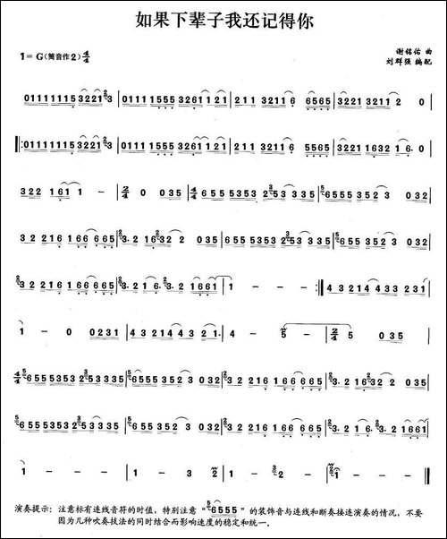 如果下辈子我还记得你-笛箫间谱|笛箫谱