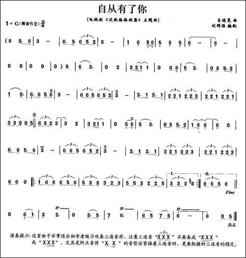 自从有了你-笛箫间谱|笛箫谱