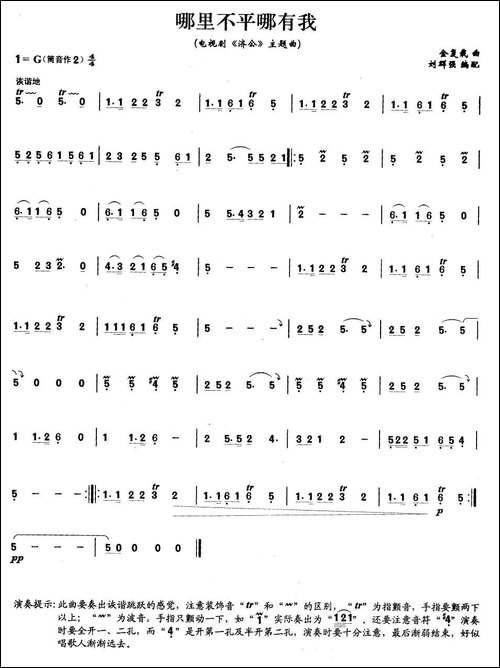 哪里不平哪有我-笛箫间谱|笛箫谱