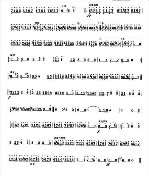 流浪者之歌-笛箫间谱|笛箫谱