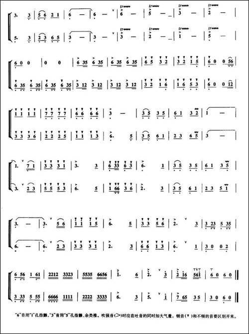 草原小姐妹-二重奏-笛箫间谱|笛箫谱