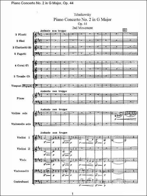 G大调第二钢琴协奏曲, Op.44第二乐章-钢琴谱