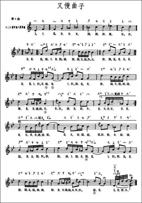 又慢曲子-敦煌琵琶曲谱-第4曲-琵琶谱