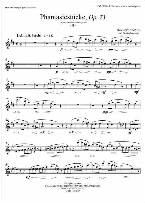 舒曼幻想曲三首-Op73-Ⅱ-萨克斯谱