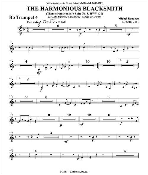 THE-HARMONIOUS-BLACKSMITH-第四降B小号分谱-铜管谱
